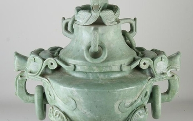Large Chinese incense burner with lid