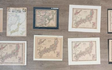 Lot of 9 Maps of Japan