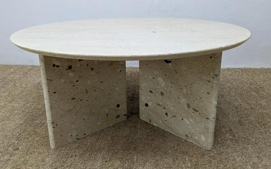 Marble Stone Round Modernist Cocktail Table. Round top