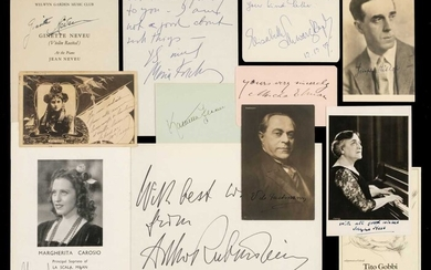 Music Autographs. A collection of 27 autograph items, mostly 20th century