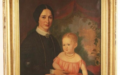 O/C PORTRAIT OF WOMAN AND CHILD; ATTR. C.R. PARKER