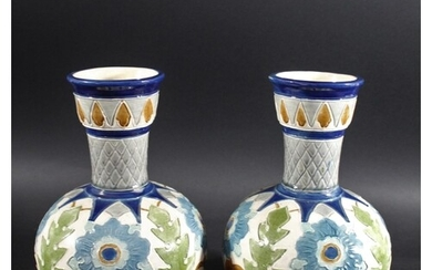 PAIR OF BURMANTOFT VASES with a tapering neck and globular b...