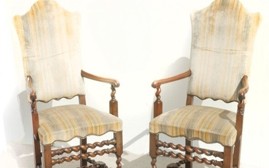 PAIR OF CARVED JACOBEAN STYLE ARMCHAIRS