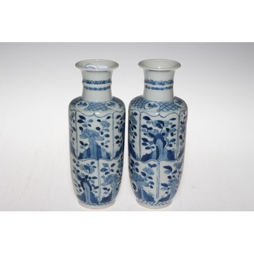 Pair Chinese blue and white vases decorated with panels of f...