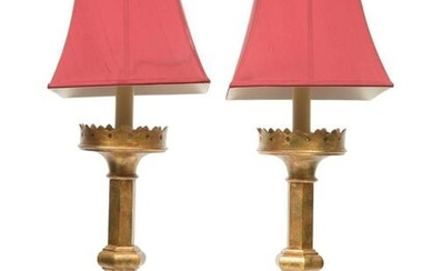 Pair French Gilt Metal Pricket Table Lamps