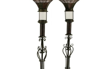 Pair of Spanish Wrought Iron and Tole Floor Torchieres.