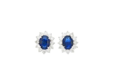Pair of White Gold, Sapphire and Diamond Earrings