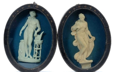 Pair of late 18th/early 19th century composition oval relief plaques depicting classical figures, in oval painted frames