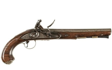 Revolutionary War Silver Mounted Flintlock Pistol
