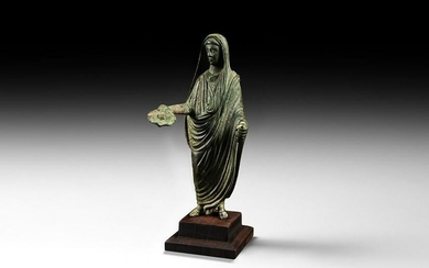 Roman Cloaked Statuette with Patera