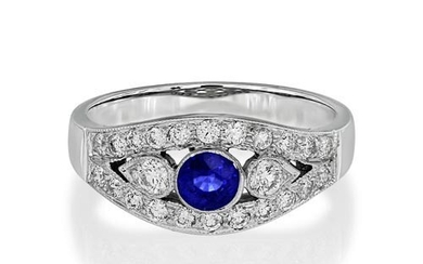 Sapphire Ring set with 0.32ct. sapphire and 0.47 ct. diamond...