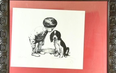 Signed Etching Of Young Boy With Dog
