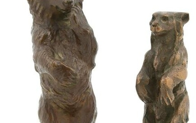 Two Patinated Bronze Bear Sculptures