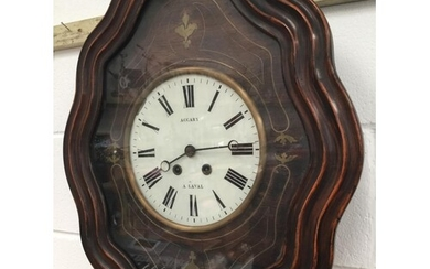 VICTORIAN FRENCH BRASS INLAID WALL CLOCK