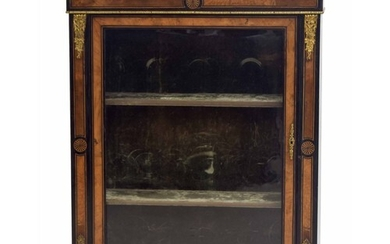 Victorian ebonised and walnut inlaid pier display cabinet, t...