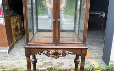 WALNUT 1920'S CURIO CABINET W/2 SHELVES, MADE FROM OLD
