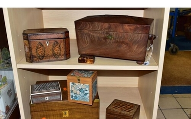 WOODEN BOXES ETC, comprising a George III tea caddy with inl...