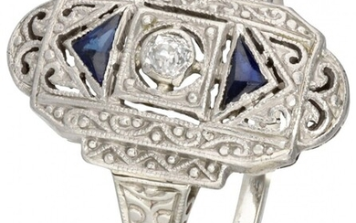 14K. White gold and Pt 950 platinum openwork Art Deco dinner ring set with approx....