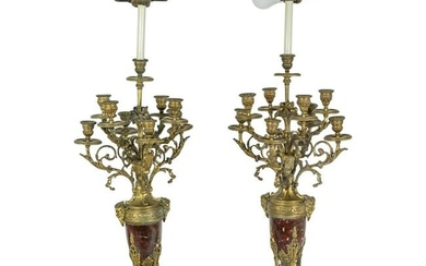 19C French Dore Bronze Rouge Marble Candelabras