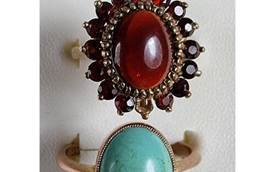 A 9ct rose gold turquoise ring, size R and a 9ct gold garnet...