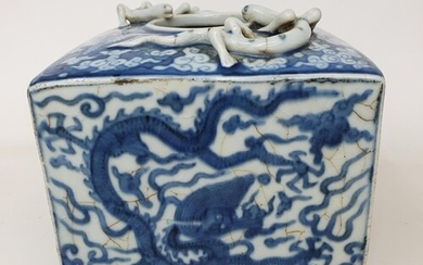 A Chinese blue and white square vase, with applied dragons, ...