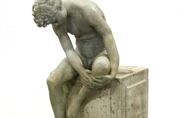 A Life Size Garden Sculpture of a Seated Figure