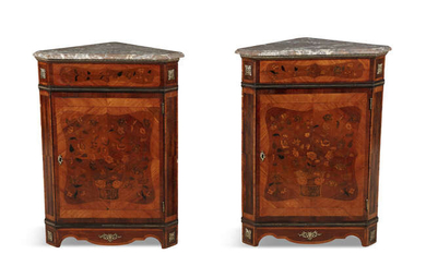 A PAIR OF LOUIS QUINZE STYLE KINGWOOD MARQUETRY...