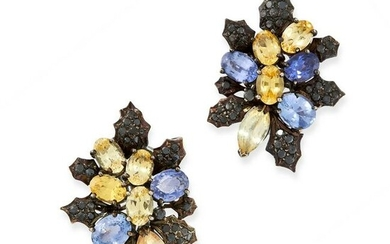 A PAIR OF SAPPHIRE AND BLACK DIAMOND EARRINGS of