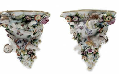 A Pair Of Porcelain Wall Consoles Style Rococo