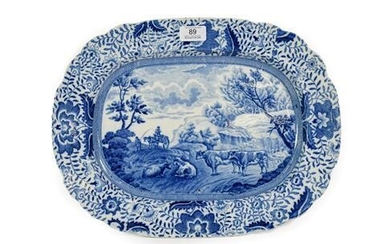 A Pearlware Meat Platter from the Durham Ox Series, circa...