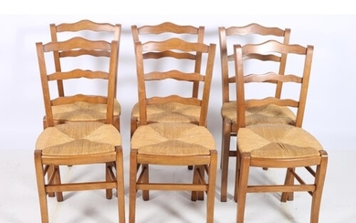 A SET OF SIX BEECHWOOD AND RUSH SEAT CHAIRS each with ladder...