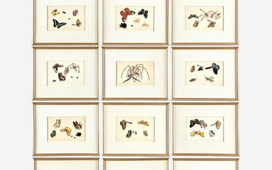 A Suite of Twelve Framed Chinese Export Paintings