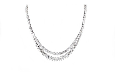A TWO ROWED DIAMOND NECKLACE, set with brilliant, marquise a...