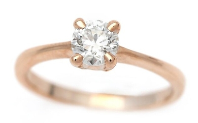 NOT SOLD. A diamond ring set with a brilliant-cut diamond weighing app. 0.70 ct., mounted in 18k rose gold. Wesselton/P. Size 54.5. – Bruun Rasmussen Auctioneers of Fine Art