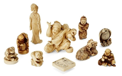 A group of Japanese ivory netsuke, 19th century, to include a recumbent ram; Gama Sennin seated with a toad upon his back; a hawk with mouse clutched in its claws with applied eyes; a seated figure pouring sake from a gourd, together with three...