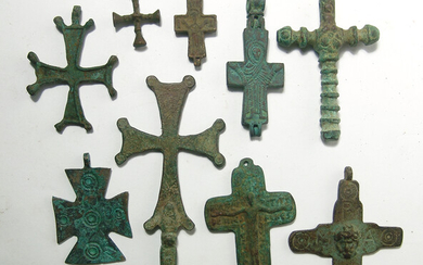 A mixed lot of 9 Byzantine-style replica crosses