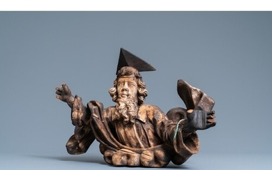 A wooden figure of God the Father on a cloud, 17th C.L.: 50,...