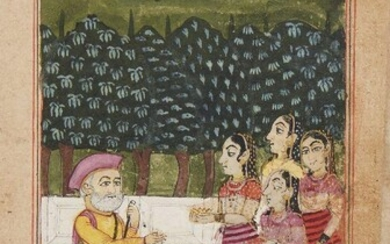 An illustration from a Ragamala from a manuscript, Western India, circa 1720, opaque pigments on paper, 16.5 x 11cm Provenance: Private German Collection formed in the 1970s
