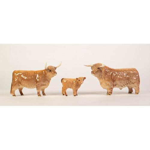 BESWICK GLOSS CHINA FAMILY OF HIGHLAND LONGHORN CATTLE, comp...