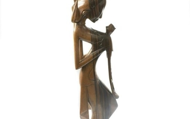 Balinese wood sculpture of a lady holding a flower