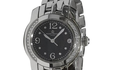 Baume & Mercier Diamond Black Dial Watch 85383