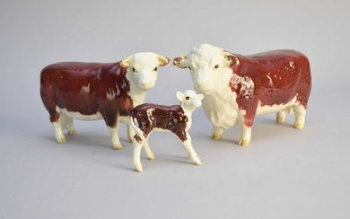 Beswick Hereford Cattle family group