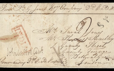 Burma Military Mail Second Burmese War, 1852-54 1854 (10 Jan.) soldier's entire letter from Pro...