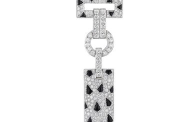 """Cartier """"Panthere Pelage"""" Diamond Onyx and Emerald Brooch"""