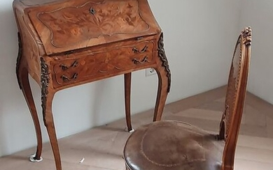 Chair, secretary of the pente (2) - Louis XV Style - Beech, Bronze, Leather, Rosewood, Marquetry - Approx 1900