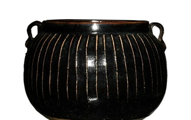 Chinese Black Glazed Melon Shaped Jar, Song or Jin