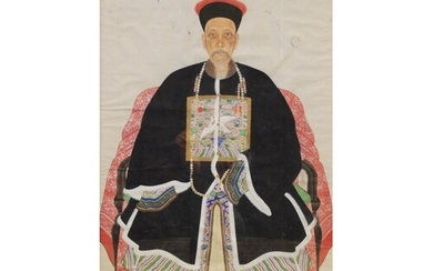 Chinese School (19th century), Gouache on paper, Ancestral ...