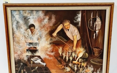 D.W.A. GLOVER (CONTEMPORARY) - Workers in a forge, oil on ca...