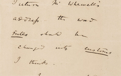 """Darwin (Charles) Autograph Letter signed to William Lonsdale, """"My dear Lonsdale I return Mr Whewell's address the word rules should be changed into customs I think""""."""