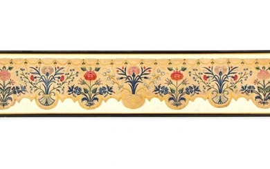 ENGLISH CREWEL-WORK EMBROIDERED BED VALANCE